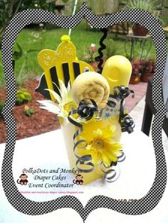 bumble bee baby shower decoration and gift by PolkaDotsdiapercakes, $12.00