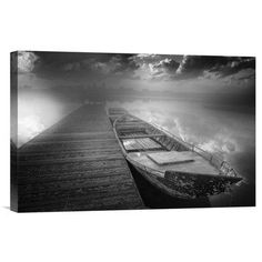 """Global Gallery 'Bad Weather Incoming. Boats In Harbor' by Luca Rebustini Photographic Print on Wrapped Canvas Size: 12"""" H x 18"""" W x 1.5"""" D"""