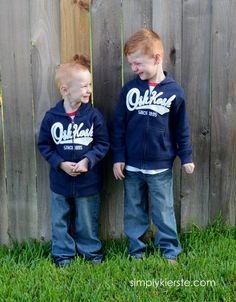 Blogger @Jackie Gregory Kierste {simplykierste.com}'s kiddos are loving their OshKosh B'gosh hoodies! #BgoshBelieve