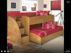 Beautiful Kids Bunk Bed Design Ideas With Drawer And Red Roll Curtain Feat Brown Carpet Inspirations Of Cute Child Bunk Bed Design Furniture Triple Bunk Bed