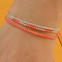 Tangerine color tiny beads bracelet by zzaval on Etsy, $18.50