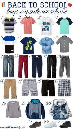 To School Outfit capsule wardrobe Back to School Capsule Wardrobe for Boys Simplify school mornings by creating a Back to School Capsule Wardrobe for Boys. Build over 60 outfits with 17 clothing items, saving you time and money. Outfits Niños, Capsule Outfits, Warm Outfits, Kids Outfits, Toddler Outfits, Toddler Girls, Stylish Outfits, Tween Boy Fashion, Toddler Fashion