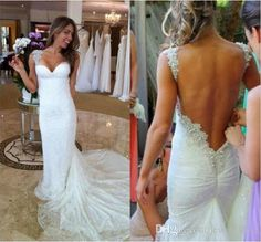 Bridal Gown Designers White Lace Spaghetti Strap Wedding Dresses Backless Sexy Sweep Train Beaded Bling Bling Sheath Custom Made Beach Wedding Gowns 2015 New Wedding Dresses Sale From Jewel_love, $145.55| Dhgate.Com