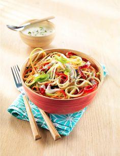 Spaghetti de légumes et crème au chèvre de Provence frais