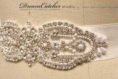 Teresa middle medallion pearl and crystal bridal sash, wedding belt Wedding Belts, Wedding Stuff, Wedding Designs, Wedding Ideas, Bridal Sash, Swarovski Crystals, Middle, Romantic, Glamour