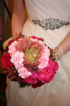 Ombre bouquet featuring a protea.