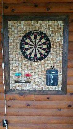 Setting Up New Office Space? Basement Furniture, Home Decor Furniture, Cork Dartboard, Rustic Games, Basement Inspiration, Bar Games, Cork Art, Wine Cork Crafts, Garage Makeover