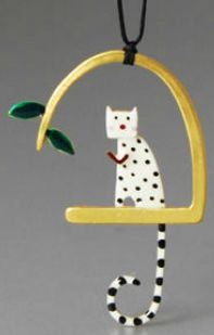 """""""Love Cat"""" - Kiss The Frog Studio (silver, gold plated, enamel)"""