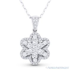 The featured pendant is cast in 18k white gold and showcases a finely-crafted flower design paved with round brilliant cut diamonds.