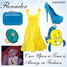 """Disney Style: Flounder"" by trulygirlygirl ❤ liked on Polyvore"