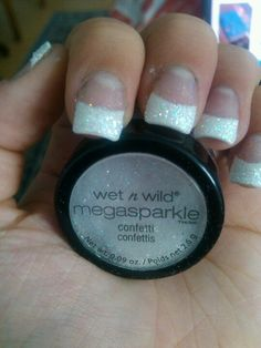 French tip nails covered with glitter