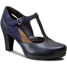 Półbuty CLARKS - Chorus Gia 261198224 Navy Leather