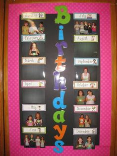 such a fun way to display your students birthdays, my kids loved coloring in their numbers and posing with their friends for their photo