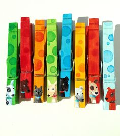 8 DOG CLOTHESPINS painted magnets blue orange green spotted by SugarAndPaint on Etsy