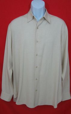 TOMMY BAHAMA 100% SILK MENS LONG SLEEVE CASUAL DRESS BUTTON UP SHIRT MEDIUM