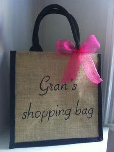 Personalised gift for Mum Mother Gran Grandma Nana Aunty Aunt Childminder New Gran to be Gift Jute Tote Shopping Book Bag