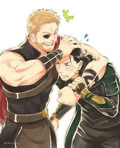Thor and Loki anime Thor X Loki, Marvel Dc Comics, Marvel Avengers, Loki Fan Art, Loki Laufeyson, Stucky, Chris Hemsworth, Spiderman, Deadpool