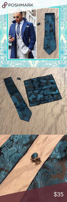 """🍒New 3pc: teal Paisley neck tie, hanky & cuff set Unique Styles New handsome beautiful colors gentleman teal turquoise blue and black neck tie, handkerchief and cuff set. men tie set. Very GQ Style dapper stylish paisley look classy sleek chic for business, interview, wedding, formal, prom, casual, dinner, date, job, and or work.  ** If you would like to see more styles click on listed """"brand"""" which will show """"Unique Styles necktie"""" bundle and save. NWOT Unique Styles necktie Accessories…"""