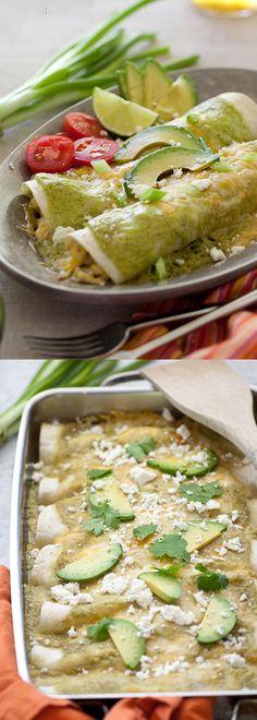 Avocado Cream and Chicken Suiza Enchiladas Recipe with a creamy avocado sauce | foodiecrush.com