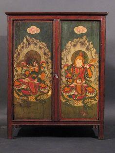 C8418 19thC Painted Tibetan Altar Cabinet 78 X 44 X 97 Cm (WxDxH Cms )
