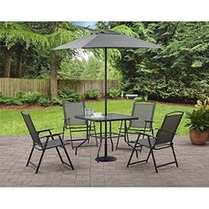 The Albany Lane Six-Piece Folding Dining set is ideal for small gatherings on smaller decks and patios. It includes a dining table four sling folding chairs and a market umbrella. The dining table f. Outdoor Folding Chairs, Outdoor Dining Set, Patio Dining, Outdoor Tables, Outdoor Living, Dining Table, Patio Tables, Patio Sets, Outdoor Cafe
