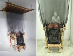 33-Year-Old Thai artist Uttaporn Nimmalaikaew paints haunting, 3d-images on fine netting. He discovered the technique by accident in 2001 when, while studying at Silapakorn University in Bangkok, he noticed a spot of paint on his mosquito netting. Nimmalaikaew soon realized that he could create the impression of depth and volume by combining multiple layers.