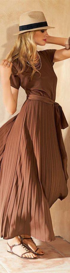 Madeleine Dress in Cognac