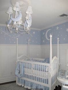 Moon and stars nursery designed by Sweet Lullaby 201-485-7571. Furniture: Newport cottages