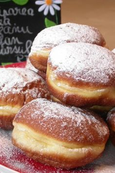 Crofne bãnãțene by stefanpizza Beignets, Eggless Recipes, Cooking Recipes, Romanian Food, Pastry And Bakery, Pretzel Bites, Doughnuts, Nutella, Easy Meals