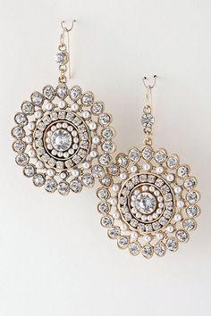 Mina Beaded Crystal Sunburst Earring Gold