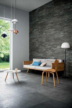 Living room tiles: your home decor inspiration #Marazzi #MystoneSilverstone #tiles #porcelain #ceramics #livingroom