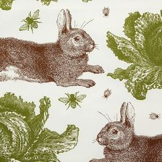 Thornback & Peel - Rabbit & Cabbage Napkins - Set of 4 - Classic Printed Napkins, Napkins Set, Rabbit Season, Bunny Hutch, Easter Garden, Kitchen Fabric, Textiles, Easter Colors, Like Animals