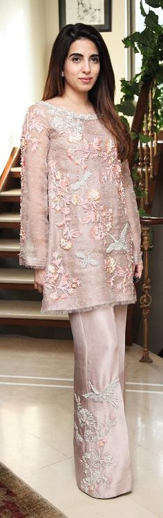 Fatin Gondal ethereal in the Powder Pink Crane Ensemble by Rema and Shehrbano