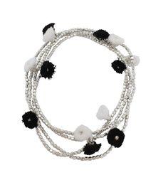 Extra Long Pom Pom Necklace: Black and White