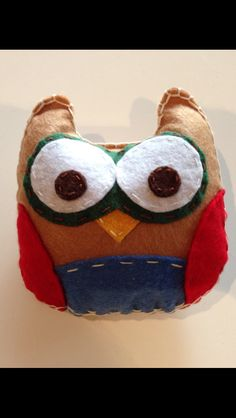 "DIY - Stuffed Felt Animals - Owl  This could be made with old shirts, gloves, socks, etc.  I saw the preschoolers at K12 using big plastic needles and yarn to sew a project.  We could do the same for the workshop.  It could be the ""puppet""."