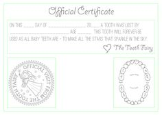 Tooth fairy free printable certificate printable certificates tooth fairy template official tooth fairy certificate yelopaper Choice Image