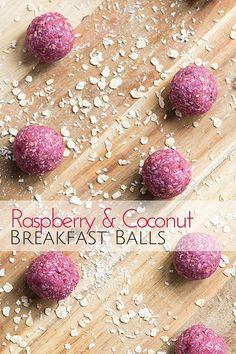 Raspberry Coconut Breakfast Balls - A great hand held breakfast for kids Raspberry Coconut Breakfast Balls. A healthy start to day made from oats, ground almonds, raspberries, coconut and coconut oil. Great for baby-led weaning (blw) Perfect Breakfast, Breakfast For Kids, Breakfast Recipes, Blw Breakfast Ideas, Breakfast Finger Foods, Vegan Desserts, Raw Food Recipes, Healthy Recipes, Raspberry Recipes Healthy