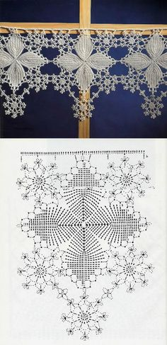 Lovely snowflake filet Crochet Edging with Diagram makes a great valance for your windows. Crochet Lace Edging, Crochet Borders, Crochet Diagram, Crochet Chart, Crochet Squares, Thread Crochet, Crochet Trim, Crochet Doilies, Crochet Flowers