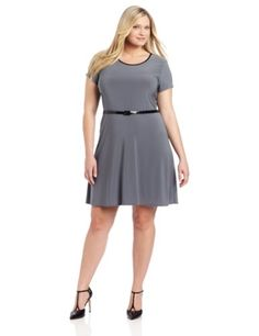 Calvin Klein Women&-39-s Plus-Size Sleeve Dress with Hardware ...
