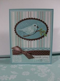 hand made thank you card ... aquas and chocolate ... patterned paper backgrounds ... two-step bird punch ...like his eye and beak in black ... Stampin' Up!