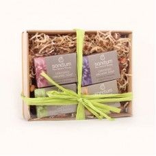 Organic 4 Piece Soap Gift Pack:- Cedarwood & olive leaf: tones, soothes and refreshes the skin Lavender & chamomile: soothing and calming to the skin Lemongrass & witch hazel: refreshing, exfoliating and antiseptic properties Rose geranium & calendula: blended with aromatic and healing oils extracts.