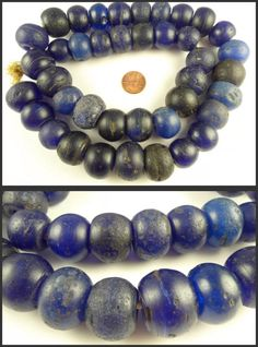 Huge antique Dogon blue trade beads, typically believed to be Dutch made.