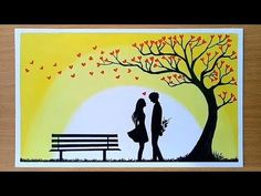 Oil pastel drawing for beginners Romantic Drawing, Romantic Paintings, Oil Pastel Paintings, Oil Pastel Art, Oil Pastel Drawings Easy, Oil Pastels, Love Birds Drawing, Valentines Day Drawing, Cool Art Drawings
