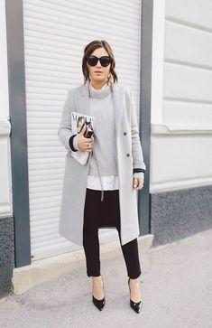 Grey Coat, Grey turtle neck, skinnie black trousers and black pumps