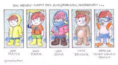 Familien-Cartoon: Das richtige Regen-Outfit