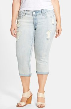 Seven7 Distressed Rolled Cuff Crop Skinny Jeans (Cherokee) (Plus Size) available at #Nordstrom