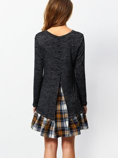 Online shopping for Grey Long Sleeve Contrast Plaid Dress from a great selection of women's fashion clothing & more at MakeMeChic.COM.
