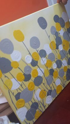 I'll Take My Wine in a Sippy Cup: DIY Abstract Grey and Yellow Canvas Art