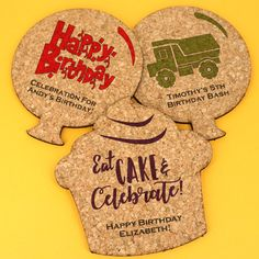 Personalized Kids Birthday Theme Shaped Cork Coaster- Add a cute and classic touch to your upcoming birthday celebration with our Personalized Birthday Theme Shaped Cork Coasters! Choose from two celebratory shapes either a cupcake or balloon! Kids Birthday Themes, Birthday Party Favors, Birthday Bash, Birthday Wishes, Birthday Celebration, Happy Birthday Elizabeth, Cork Coasters, Get The Party Started, Shower Gifts