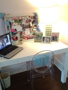 I NEED to find an acrylic chair like this... and then change out the vinyl monogram   color everytime I feel like it!